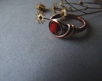 Red Copper Ring, Rustic Bohemian Retro Glass Ring, Red Fire Glass Ring