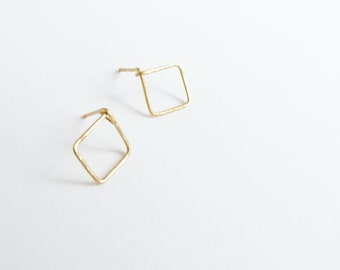 Haven (earrings) - Small gold open square stud, hand forged, hammered, chic, new, modern