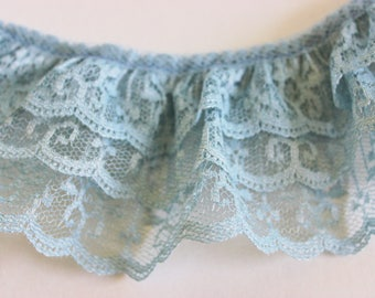 """Dusty Blue Lace Triple Layered Ruffled 2 1/2"""" Wide Various Lengths / Baby Showers / Weddings / Favors / Sewing / Crafts"""