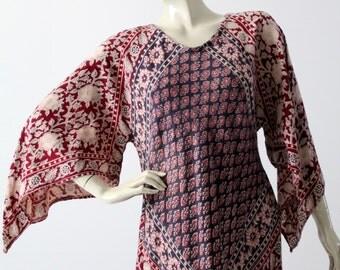 vintage block print caftan, 70s India cotton hippie dress