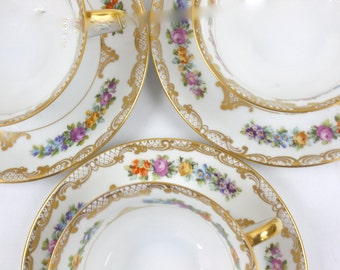 Floral Tea Cups and Saucers - Dresden Tea Cups, Ornate Gold Filigree, Royal Bayreuth, Bavarian China, Afternoon Tea Party, c1920s