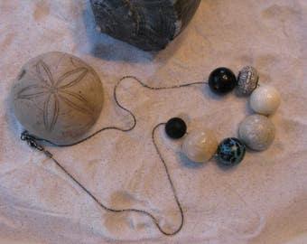 SALE Road to Hana, Earthy & Organic Vintage Beach Necklace Black Sand Taupe Blue Hawaii Flower Lava Water Maui Chunky Boho Cream Bead Beads