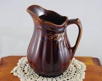 Beautiful Vintage 1960s Arthur Wood England Lg Jug Creamer Wheat Pattern Ironstone Cottage Country Charm Primitive decor Brown Glaze Pottery