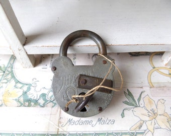 French Flea Market Find Large Antique  ALCYON Brand Padlock with Key 1920s