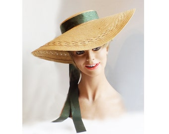 1930s -40s Cartwheel, low crown straw hat / Kentucky Derby / Plantation / Gone with the Wind / Southern Belle / Antebellum /