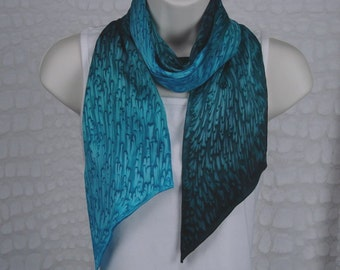 Teal/Turquoise Long Skinny Silk Scarf for Autumn