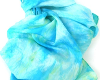SALE    ...     caribbean turquoise green   ...   large hand dyed silk scarf