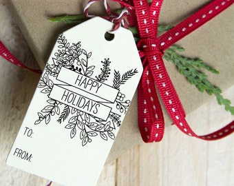 Happy Holidays, Christmas Present Tags, Gift Basket Tag, Party Favor, Treat Tag, Hostess Gift  - 1.5 x 3 inch, Winter Foliage, Package of 12