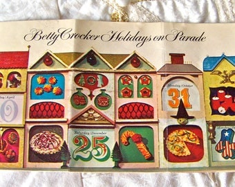 Vintage Betty Crockers Holidays on Parade 1965 Mouth Watering Holiday Recipes Christmas Tree Cake Sugar Cookies Mothers Cookbook