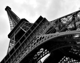 Black and White Print- Eiffel Tower-Paris, France