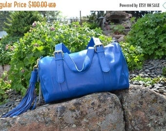 Spring Sale Leather Bag Satchel 16 X 10 X 7 HUGE Beautiful Blue Gutsy Girls Bag Handmade Italian Leather