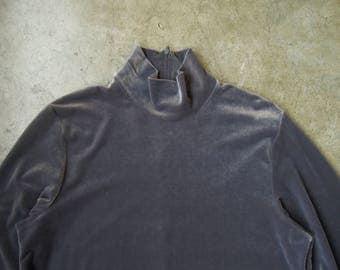 Vtg 90's Grey Velvet Stretch Plush Velour Tunic Blouse Turtle Neck S M L 1990's