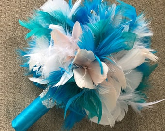 Turquoise Wedding Bouquet, Feather Bridal Bouquet, Gatsby Bouquet, Teal Wedding Flowers, Small Bridal/Bridesmaid Bouquet, Peacock Bouquet