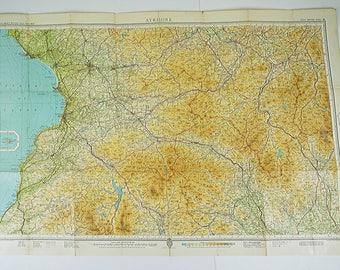 Vintage Ayrshire Map. Vintage Scottish Map. Vintage Map of Ayrshire, Home Decor. Wall Hanging. Office Decor. Large Map.