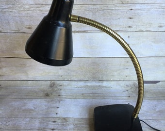 Black and Gold Industrial Desk Lamp Gooseneck