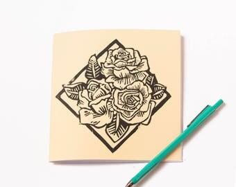 handmade notebook- handprinted cover- light yellow- poetry