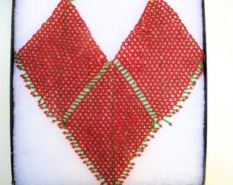 Red Glass Beaded Bib Necklace from Afghanistan in Shadow Box, Vintage