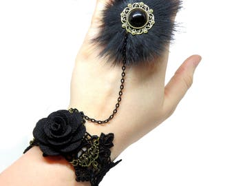 Victorian Lace Bracelet with Fur Ring