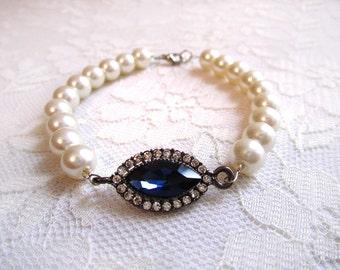 Flapper Accessories, Blue Sapphire Rhinestone Pearl Evening Bracelet, Retro Bracelet, Roaring 20s, Great Gatsby ,Woman Jewelry Accessory