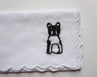 Custom Pet Hankie Embroidered Pet Portrait Personalized Dog Hankie Custom Dog Gift Pug Corgi Poodle