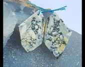 Nugget Orbicular Rhyolite Birds'Eye Jasper Earring Bead,37x23x3mm,6.9g