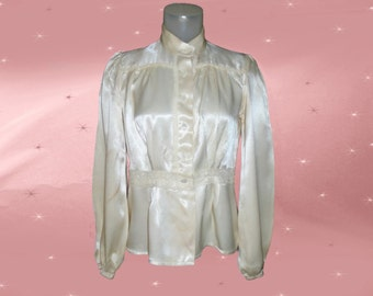 Vintage Cream Satin Blouse - AS IS for Cosplay Costume - 70s Long Sleeve Blouse