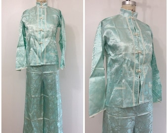 1940s 1950s Asian Lounge Set 40s 50s Satin Blouse Pants Rose Special