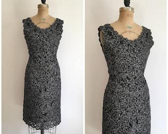 1950s 1960s Raffia Wiggle Dress Black and Silver 50s 60s Crochet