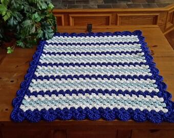 baby boy blanket, crochet granny stripe, crochet blanket, afghan crochet, crocheted blanket, crocheted afghan, KC colors, royal blue & white
