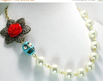 SALE Statement Sugar Skull Necklace Chunky Pearls Day of the Dead Red Rose Jewelry Bridal Flower Bouquet Crystal Eyes