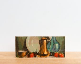 Paint by Number Art Block 'Still Life' - food, brass, apples, blue glass, vintage art