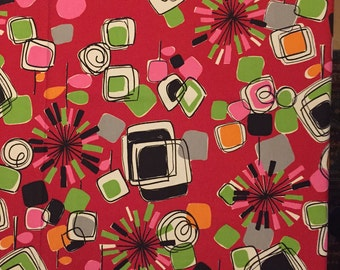 70's Bold Atomic Fabric , Cotton Canvas with Modern Print in Colors of Red, Black , Green, Pinks , Orange and Gray  - Kitsch