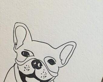 French bulldog letterpress card