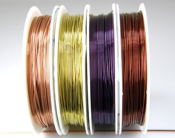 22 Gauge Colored Copper Wire, For Wire Wrapping, Jewelry Wire, Craft Wire, Floral Wire W0001