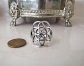 Flower of Life Sterling Silver Ring, size 10.5, Spiritual gift