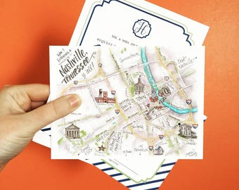 Nashville Map Cards featuring The Cordelle for weddings or events in downtown Nashville TN, watercolor illustration prints, A6 sized