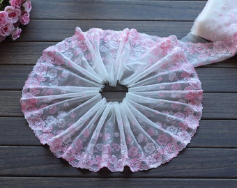 2 Yards Lace Trim Pink Floral Embroidered Scalloped Tulle Lace 7 Inches Wide High Quality