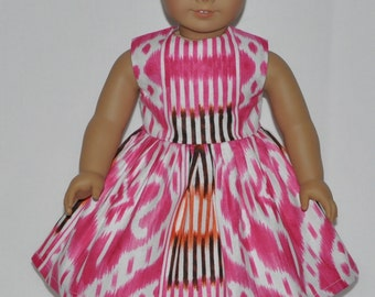Pink Abstract Print Doll Dress Made To Fit 18 Inch American Girl Doll Clothes