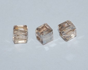 10 pcs 4mm Faceted Transparent Champagne Crystal Cube Beads