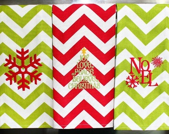Christmas Twill Kitchen / Hand Towels - Snowflake Noel Christmas Tree Chevron | Housewarming Gift | Hostess Gift | Gifts for Her