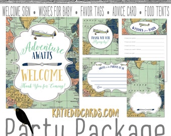 Oh the Places adventure awaits 12124 package AS IS Instant Download Welcome sign wishes for baby favor tag food advice hot air balloon