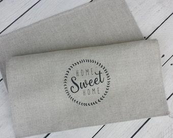 Home sweet home tea towel, hostess gift, handmade tea towel, printed towel