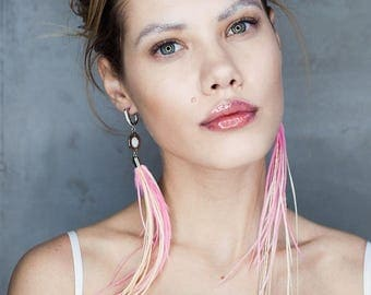 Unusual long feather earrings, bridal long ivory and pink earrings with, fashion accessory with feathers,  long dangle drop rainbow earring