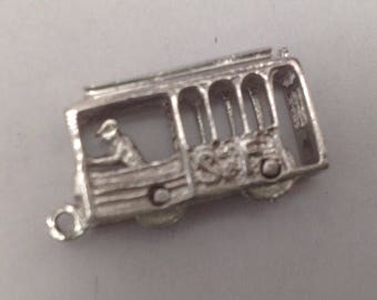 Vintage San Francisco Cable Car Mechanical  Sterling Silver Charm FREE SHIPPING