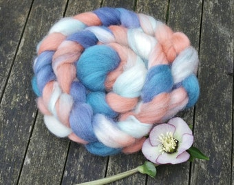 Hand dyed spinning fibre, Corriedale, 100g