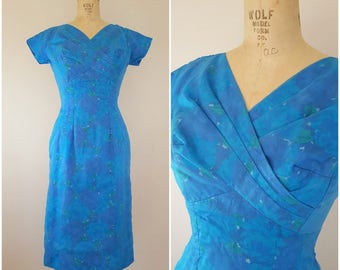 Vintage 1960s Dress / Fitted Cocktail Dress / Blue Dress / Blue Floral Chiffon Dress / Small
