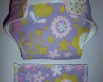 Baby Doll Diaper/wipes - colorful white, pink, white, lime green flowers - See Shop Special - adjustable for many dolls such as bitty baby