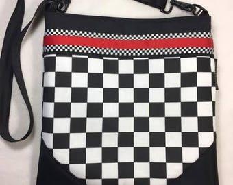 Checkered Crossbody Bag, Racecar Purse, Racecar CrossBody, Checkered Purse, checkered bag, Racecar Purse, Racecar Bag,  RTS