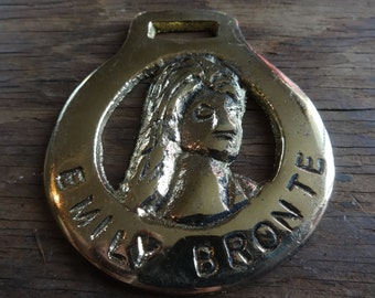 Vintage English Emily Bronte horse brass harness tack decoration lucky charm gift souvenir c1970-80's / English Shop