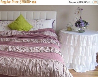 clearance sale Ruched bedding Shabby cottage chic Duvet cover Twin Full Queen King-country home lavender cotton custom bedding Design by Nur